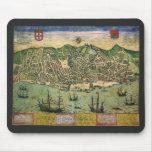 Vintage Antique Map; Town Plan of Lisbon, 1598 Mousepads