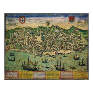 Vintage Antique Map; Town Plan of Lisbon, 1598 Poster