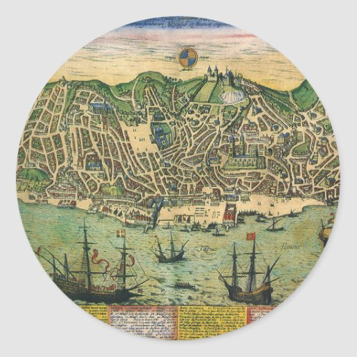 Vintage Antique Map; Town Plan of Lisbon, 1598 Classic Round Sticker