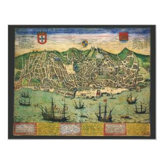 Vintage Antique Map Town Plan of Lisbon Invitation