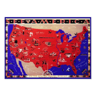 Vintage Antique Map United States of America, USA 5x7 Paper Invitation Card