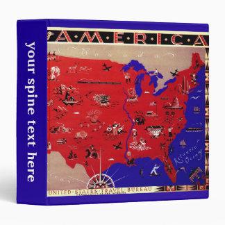 Vintage Antique Map United States of America, USA 3 Ring Binder