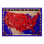 Vintage Antique Map United States of America, USA Greeting Card