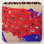 Vintage Antique Map United States of America, USA Drink Coaster