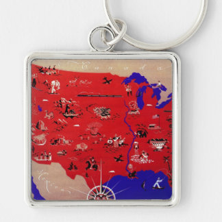Vintage Antique Map United States of America, USA Keychains