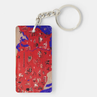 Vintage Antique Map United States of America, USA Keychain
