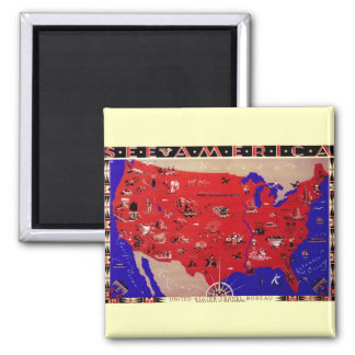 Vintage Antique Map United States of America, USA Magnet