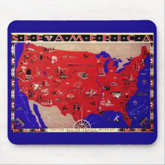 Vintage Antique Map United States of America, USA Mouse Pad