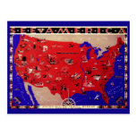 Vintage Antique Map United States of America, USA Post Card