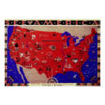 Vintage Antique Map United States of America, USA Posters