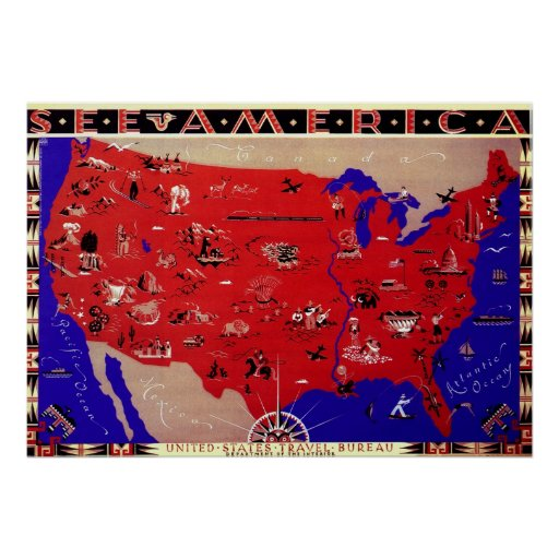 Vintage Antique Map United States of America, USA Poster