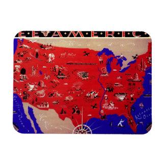 Vintage Antique Map United States of America, USA Rectangular Photo Magnet