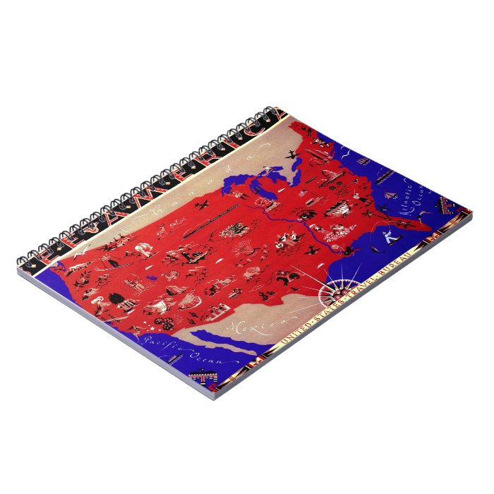 Vintage Antique Map United States of America, USA Spiral Notebook