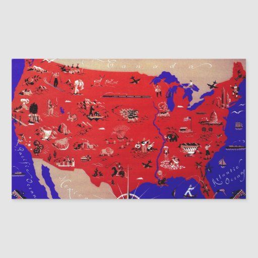 Vintage Antique Map United States of America, USA Rectangular Sticker
