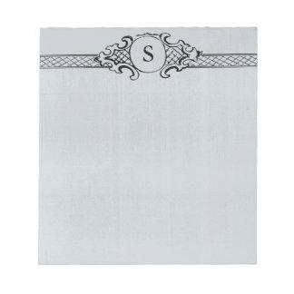 Vintage Antique Monogram Gray Blue Wedding Notepad