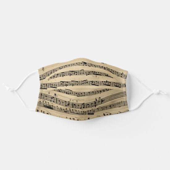 Vintage Antique Musical Notes Score Sheet Music Cloth Face Mask