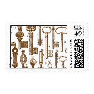 Vintage Antique Old Fashioned Key Set Postage
