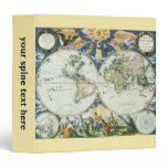 Vintage Antique Old World Map, 1666 by Pieter Goos 3 Ring Binder