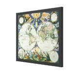 Vintage Antique Old World Map, 1666 by Pieter Goos Canvas Print