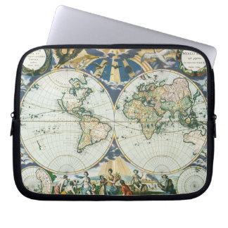 Vintage Antique Old World Map, 1666 by Pieter Goos Computer Sleeve