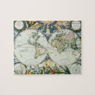 Vintage Antique Old World Map, 1666 by Pieter Goos Jigsaw Puzzle