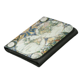 Vintage Antique Old World Map, 1666 by Pieter Goos Leather Wallets