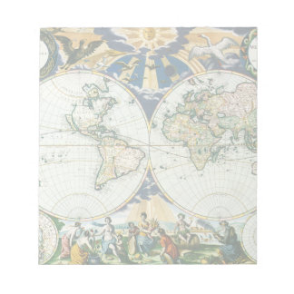 Vintage Antique Old World Map, 1666 by Pieter Goos Notepad