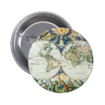 Vintage Antique Old World Map, 1666 by Pieter Goos Pinback Button