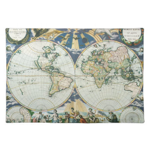 Vintage Antique Old World Map, 1666 by Pieter Goos Placemat