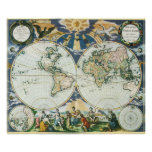 Vintage Antique Old World Map, 1666 by Pieter Goos Poster