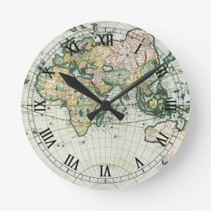 Old world map wall clocks zazzle vintage antique old world map 1666 by pieter goos round clock gumiabroncs Image collections