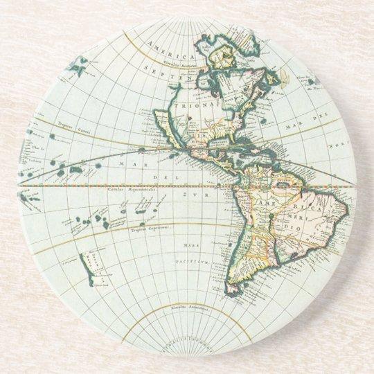 Vintage Antique Old World Map, 1666 by Pieter Goos Sandstone Coaster