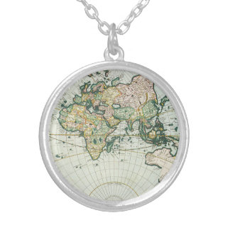 Vintage Antique Old World Map, 1666 by Pieter Goos Silver Plated Necklace