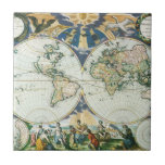 Vintage Antique Old World Map, 1666 by Pieter Goos Tile