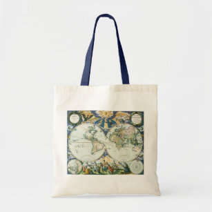 Vintage Antique Old World Map 1666 By Pieter Goos Tote Bag