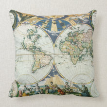 Vintage Antique Old World Map by Pieter Goos, 1666 throwpillow