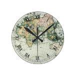 Vintage Antique Old World Map by Pieter Goos, 1666 Round Clock