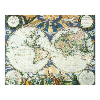 Vintage Antique Old World Map by Pieter Goos 1666 Personalized Announcements