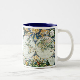 Vintage Antique Old World Map by Pieter Goos, 1666 Coffee Mugs