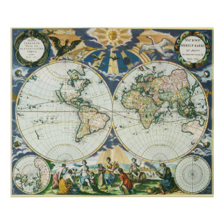 Vintage Antique Old World Map by Pieter Goos, 1666 Poster