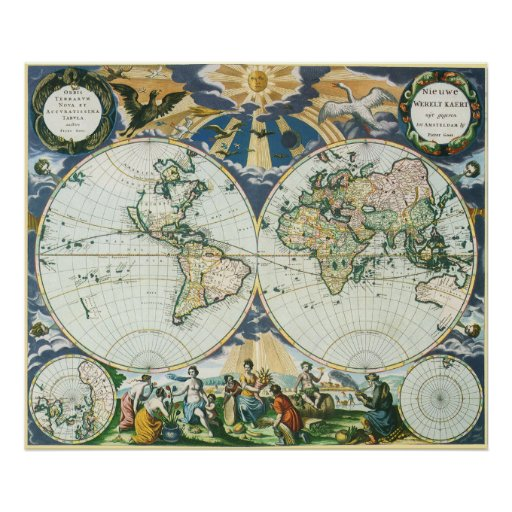 Vintage Antique Old World Map by Pieter Goos 1666 Poster Zazzle