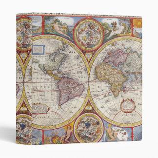Vintage Antique Old World Map cartography 3 Ring Binder
