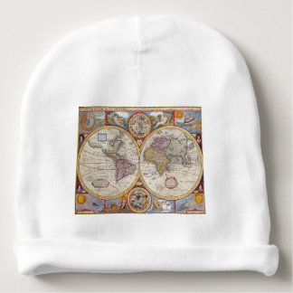 Vintage Antique Old World Map cartography Baby Beanie
