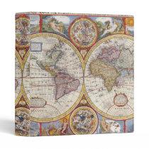 Vintage Antique Old World Map cartography Binder