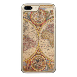 Vintage Antique Old World Map cartography Carved iPhone 7 Plus Case