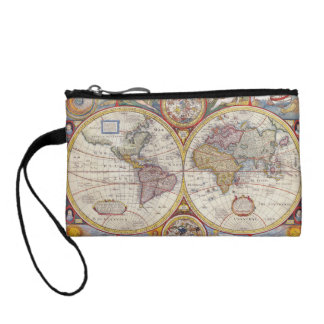 Vintage Antique Old World Map cartography Coin Purse
