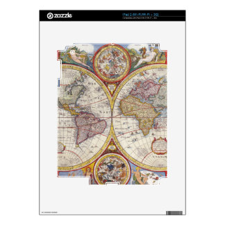 Vintage Antique Old World Map cartography Decals For iPad 2