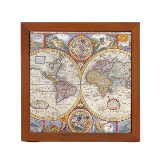 Vintage Antique Old World Map cartography Desk Organizer