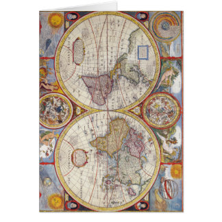 Vintage Antique Old World Map cartography Greeting Card