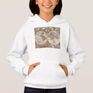 Vintage Antique Old World Map cartography Hoodie
